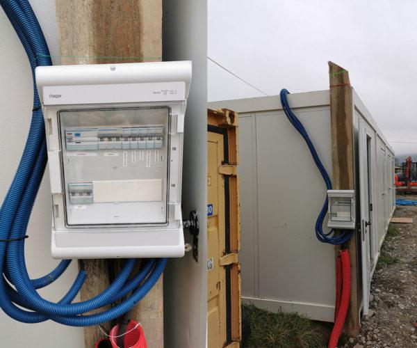 Installation de chantier - base vie - armoire pied de grue - tarif jaune - coffret de chantier